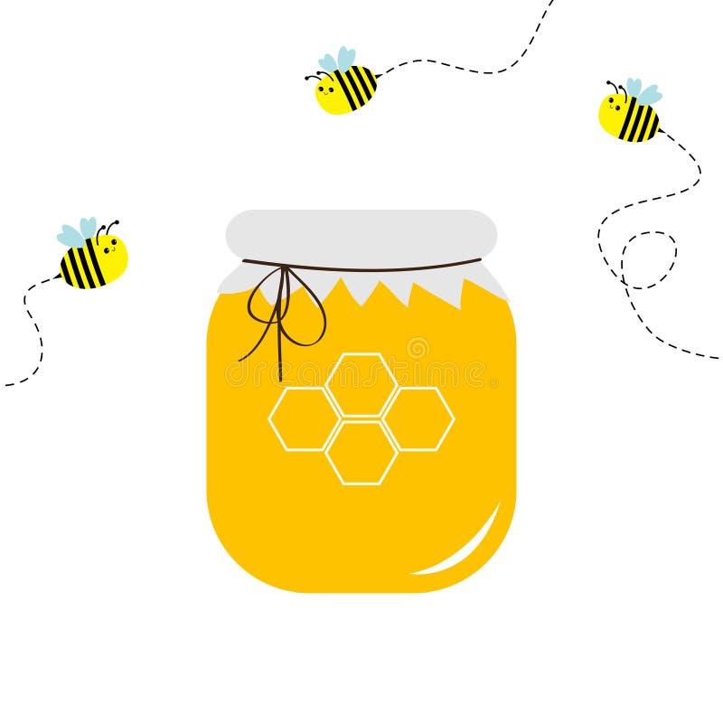 蜂蜜瓶子罐象 蜂窝商标 蜂箱元素 飞行蜂昆虫破折号线集合 纸上面和弓 食物健康黄色 Isol 皇族释放例证