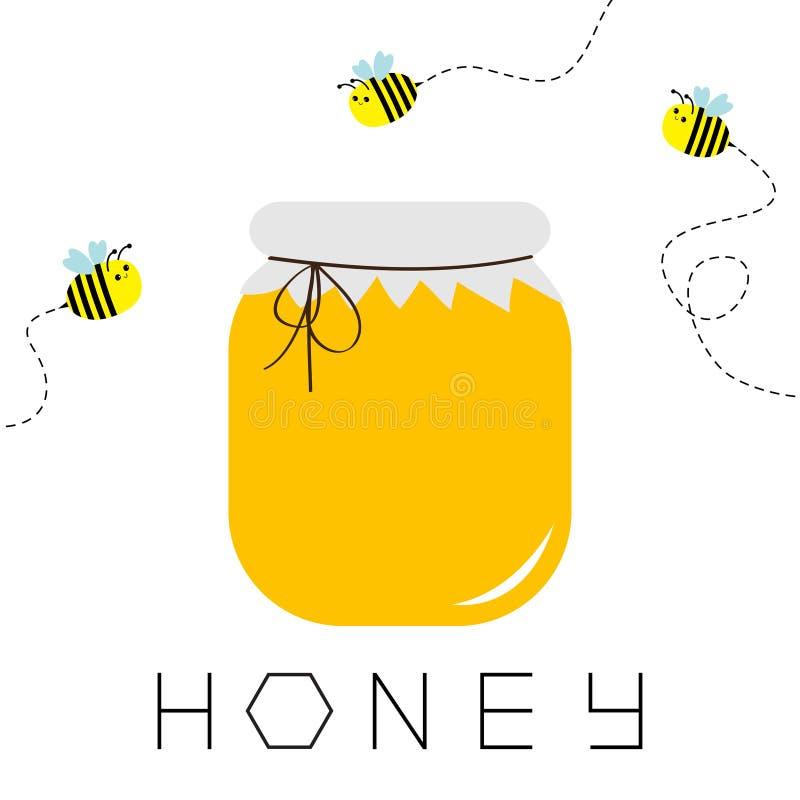 蜂蜜瓶子罐象 蜂窝文本 蜂箱元素 飞行蜂昆虫破折号线集合 纸上面和弓 食物健康黄色 Isol 皇族释放例证