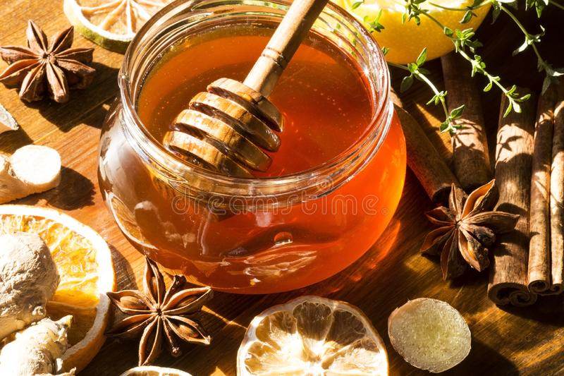 蜂蜜用香料 免版税库存照片