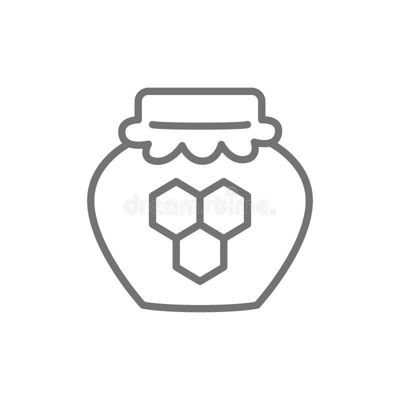 蜂蜜罐线象 背景查出的白色 向量例证
