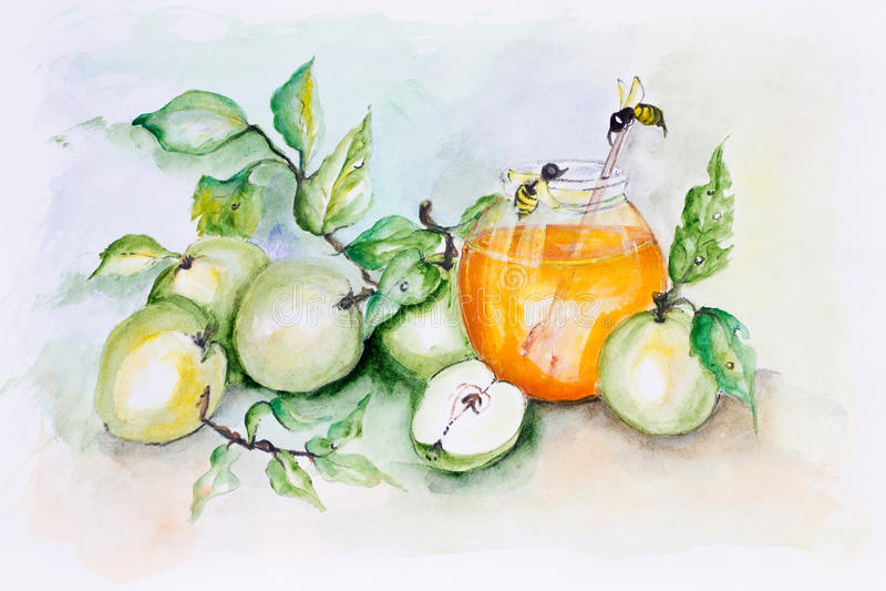 蜂蜜蜂和苹果 向量例证