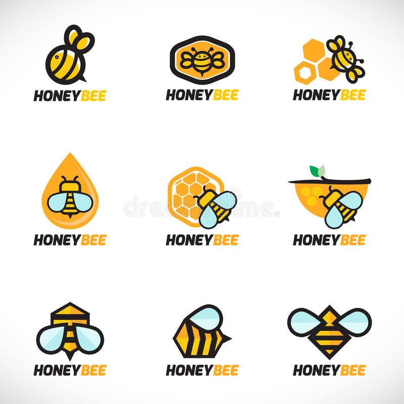 蜂蜜蜂商标传染媒介集合艺术设计 库存例证