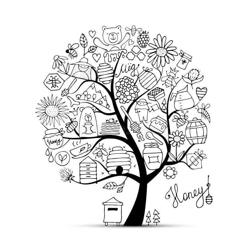 蜂蜜蜂房,艺术树 您的设计的剪影 向量例证