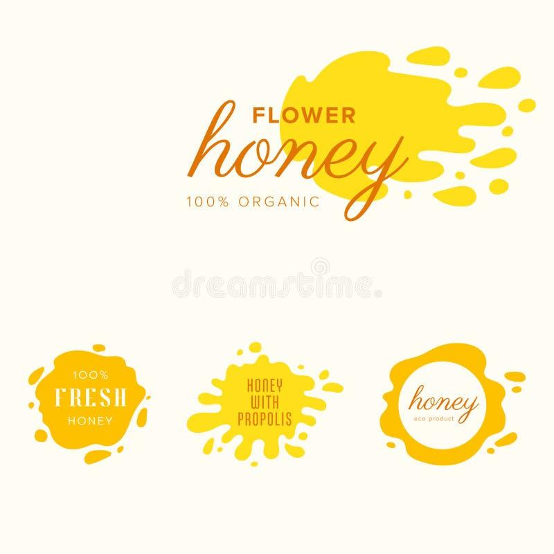 蜂蜜飞溅套标签 飞溅并且投下汇集 免版税库存照片