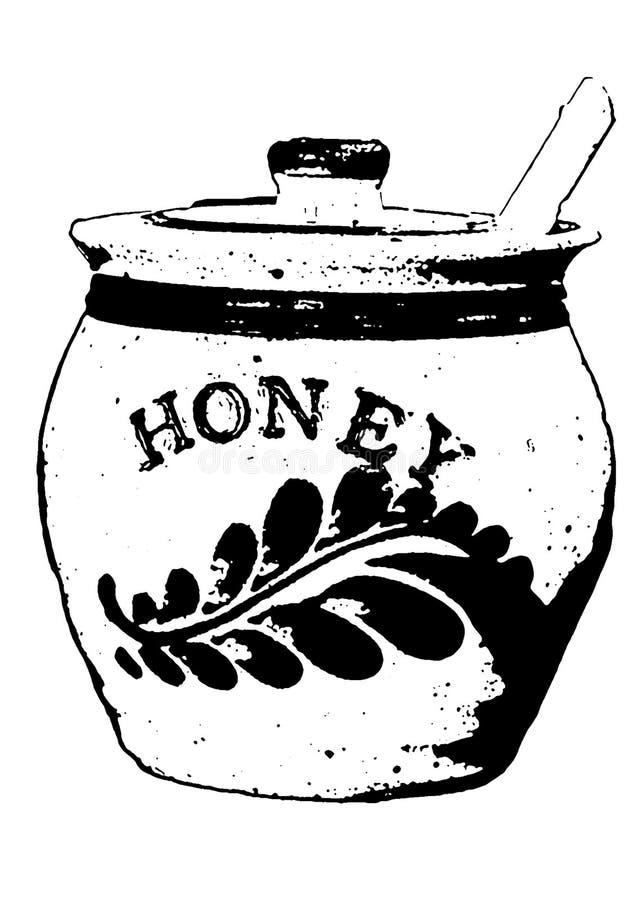 蜂蜜黑白罐的摘要 免版税库存图片