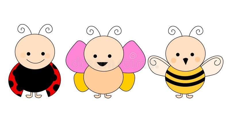 蜂蝴蝶瓢虫 库存例证