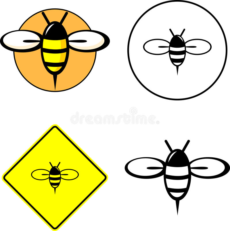 蜂被混合的集合 库存例证