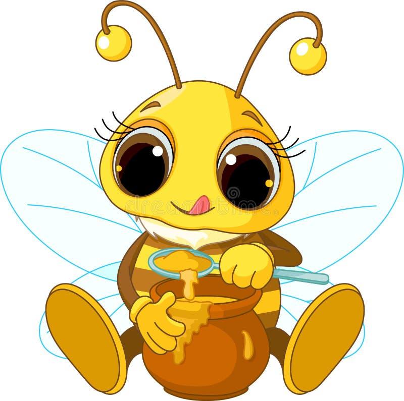 蜂逗人喜爱的吃蜂蜜 向量例证