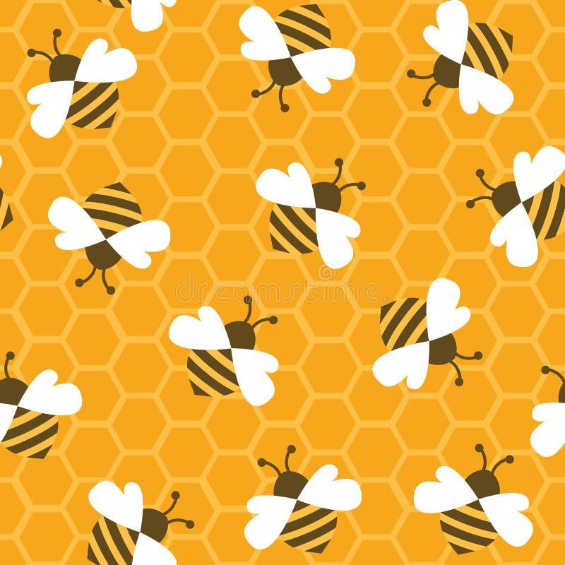 蜂颜色等高蜂蜜 无缝的模式 库存例证