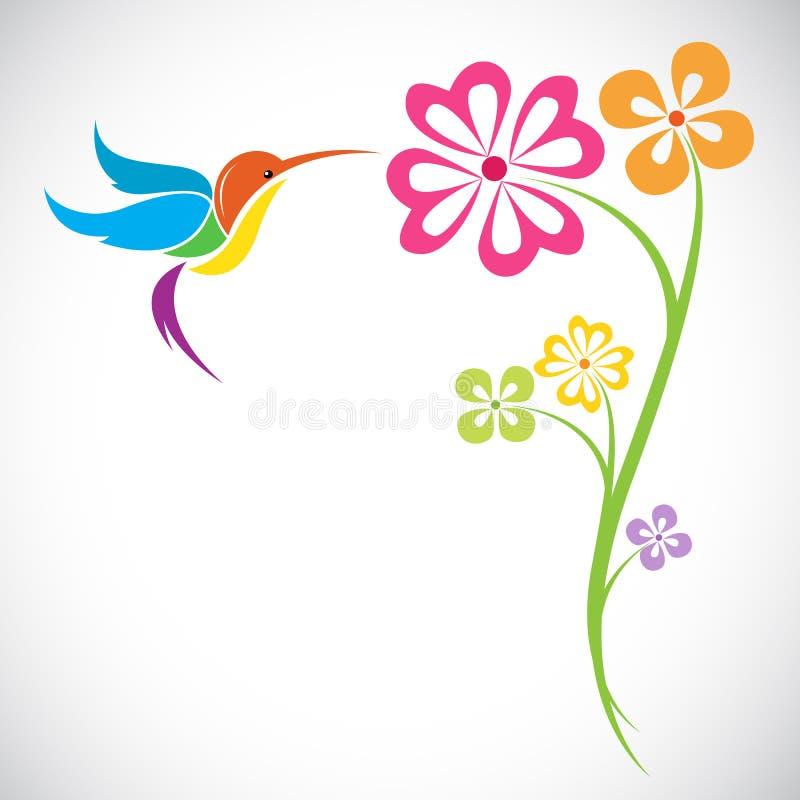 蜂鸟和花传染媒介设计  库存例证