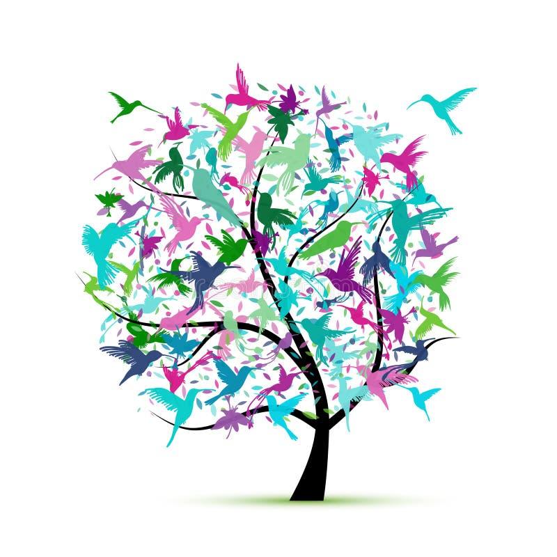 蜂鸟树,您的设计的剪影 皇族释放例证