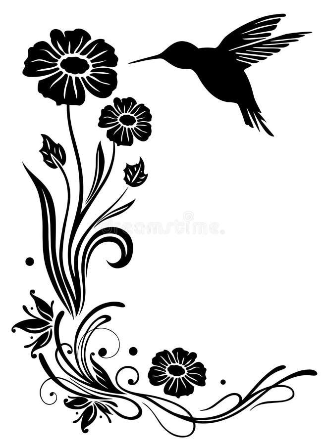 蜂鸟,花 库存例证