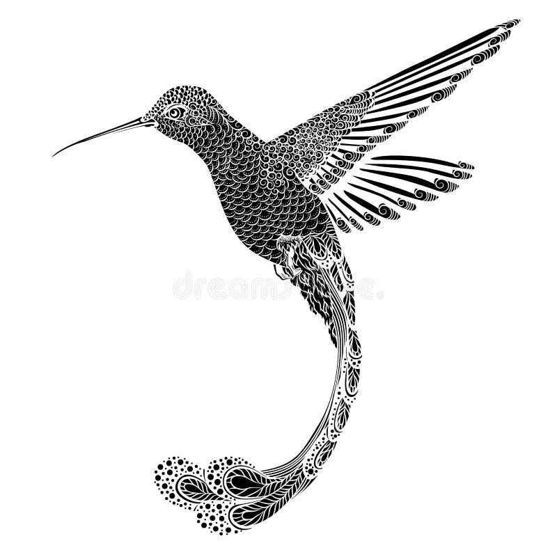 蜂鸟, zentangle样式 也corel凹道例证向量 皇族释放例证