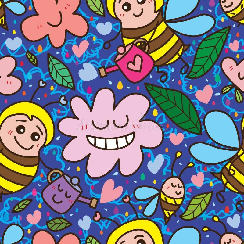 蜂水花愉快的无缝的样式 库存例证