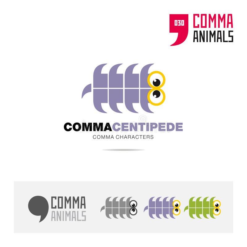 蜈蚣动物概念象集合和现代品牌身份商标模板和根据逗号的app标志签字 向量例证