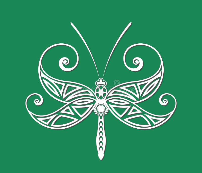 蜻蜓纹身花刺 向量例证