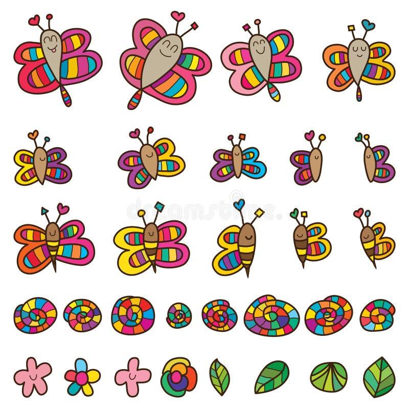 蜻蜓蝴蝶蜂蜗牛花叶子集合 向量例证