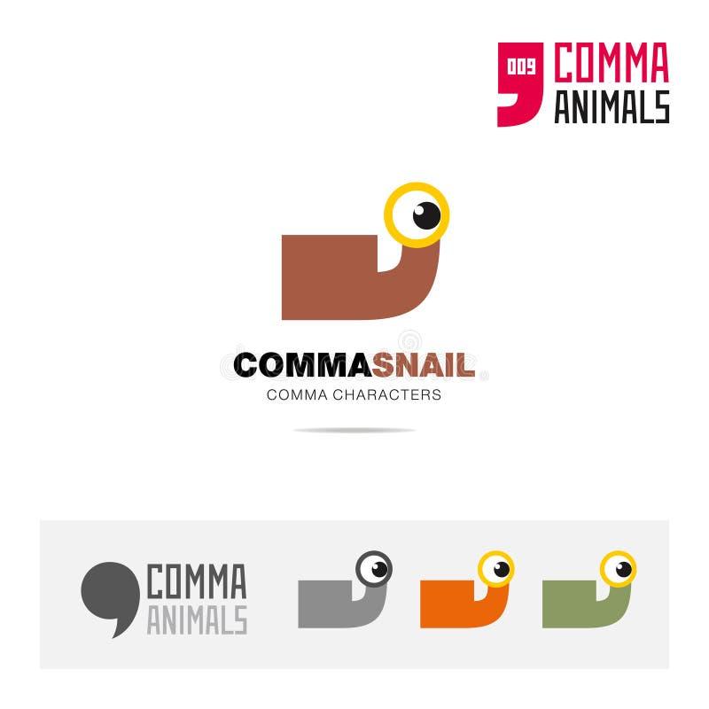 蜗牛动物概念象集合和现代品牌身份商标模板和根据逗号的app标志签字 皇族释放例证