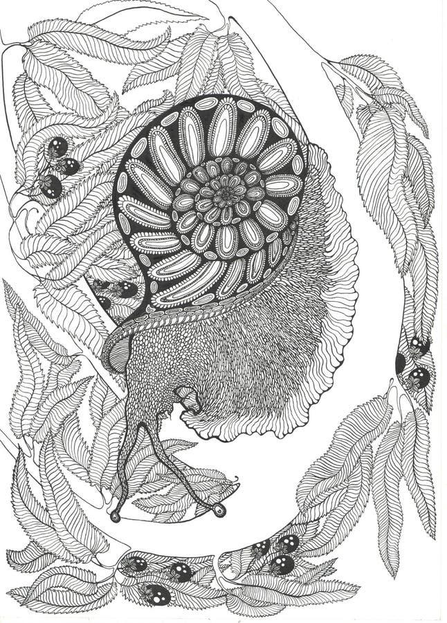 蜗牛和叶子在树 库存例证