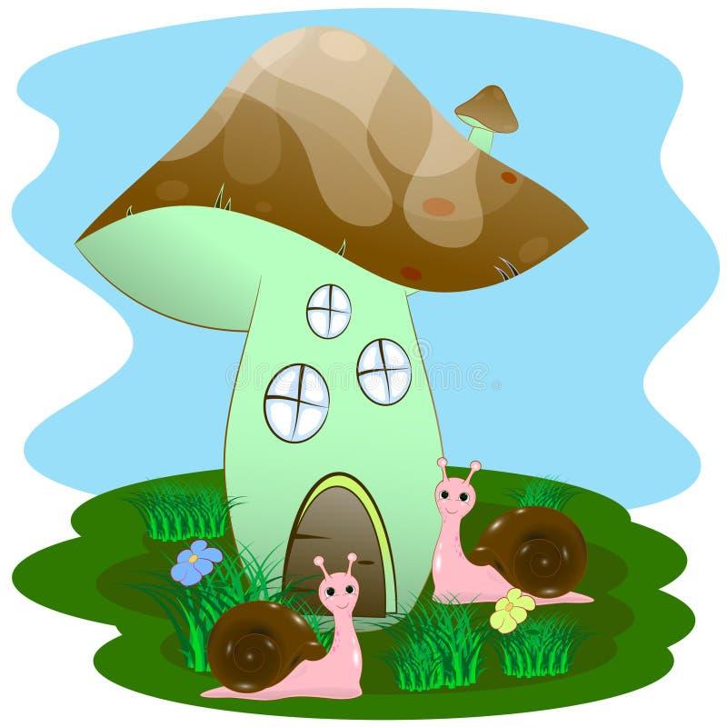 蜗牛和房子采蘑菇 库存例证