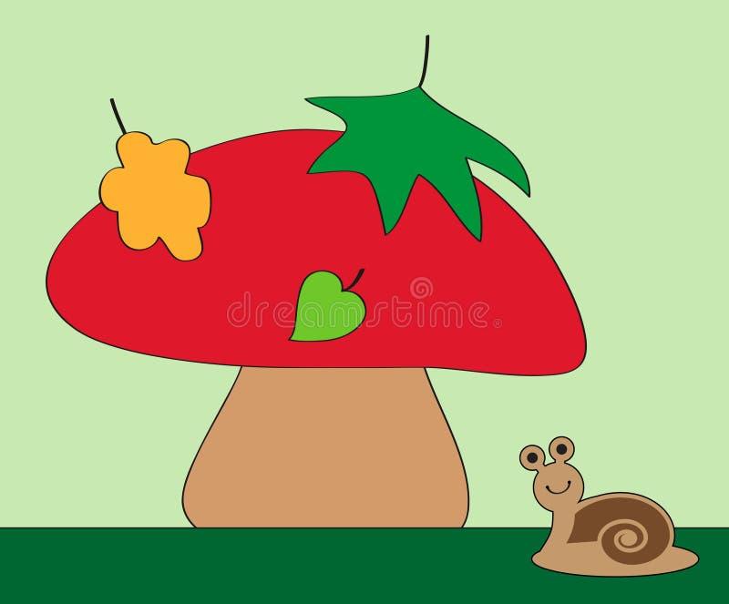 蜗牛和蘑菇 库存例证