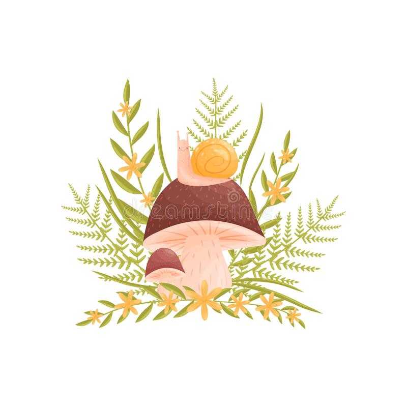 蜗牛坐与一个棕色帽子的一个大蘑菇 在一棵小蘑菇和草附近 r 皇族释放例证