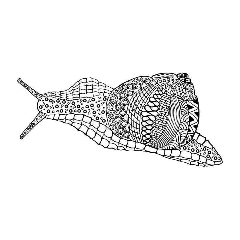 蜗牛手拉的乱画 图库摄影