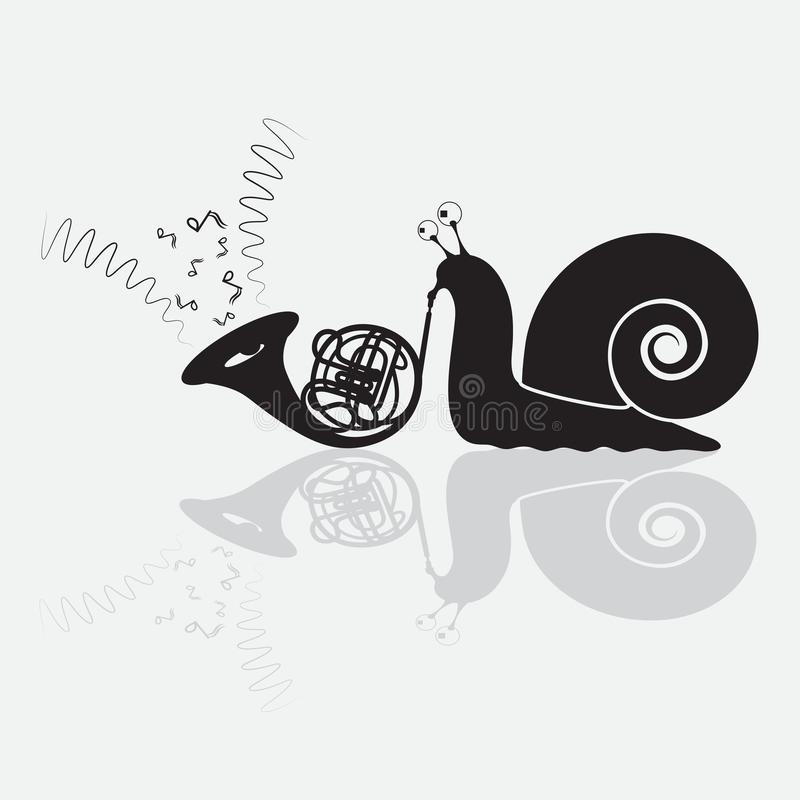 蜗牛播放喇叭幽默黑色剪影,徽章 o 皇族释放例证