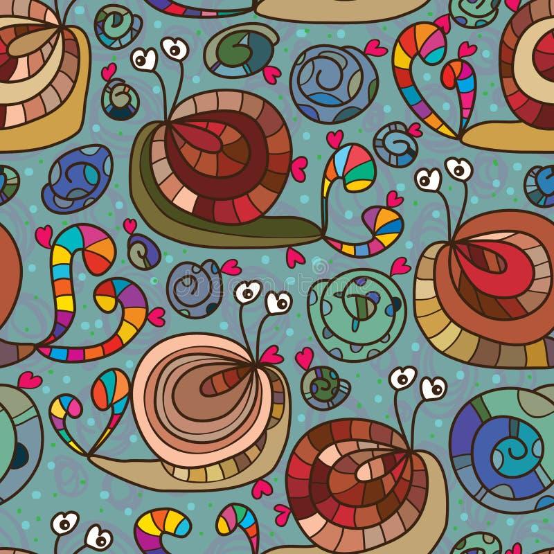 蜗牛爱疯狂的无缝的样式 向量例证