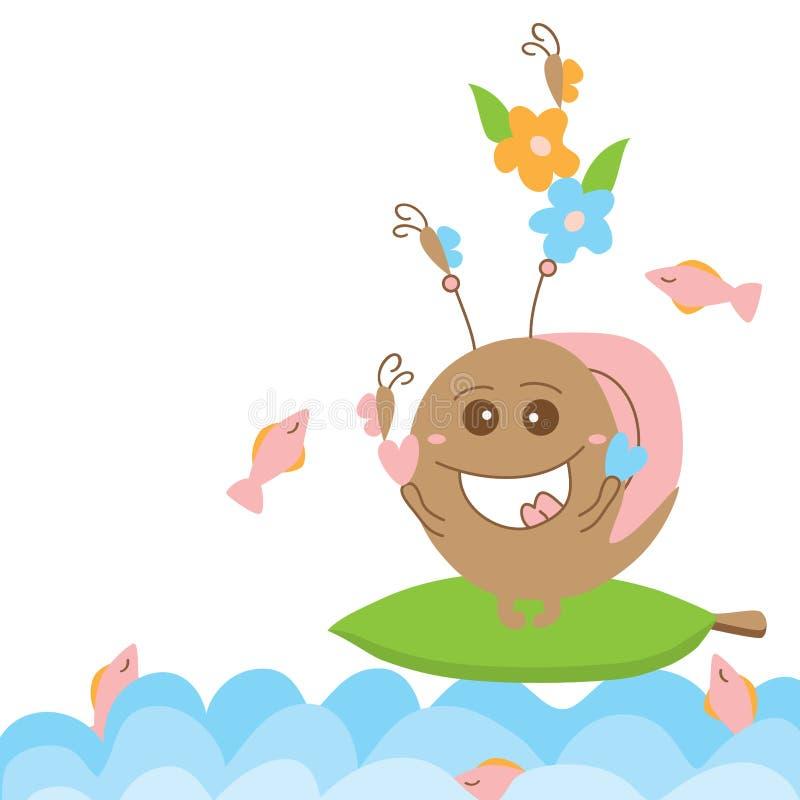 蜗牛疯狂的妖怪乐趣水 向量例证