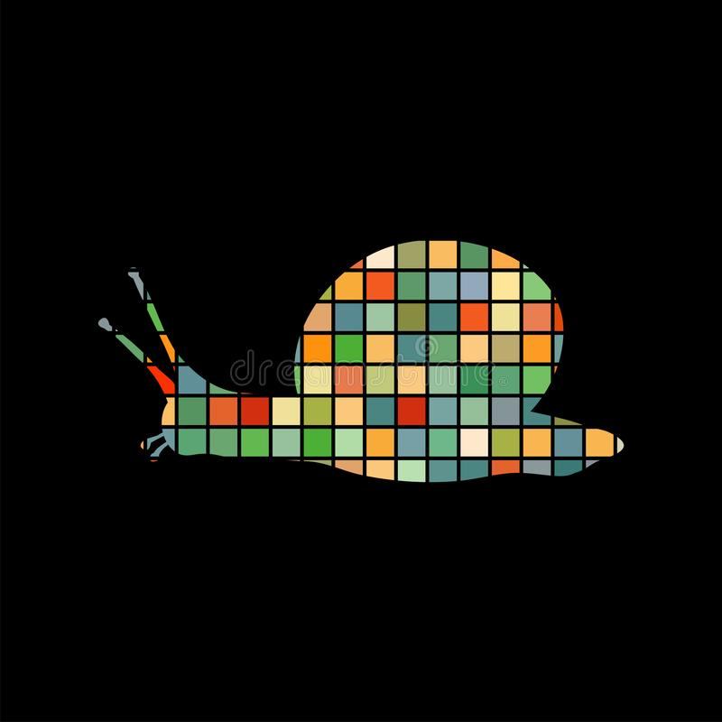 蜗牛软体动物壳马赛克颜色剪影动物背景bl图片