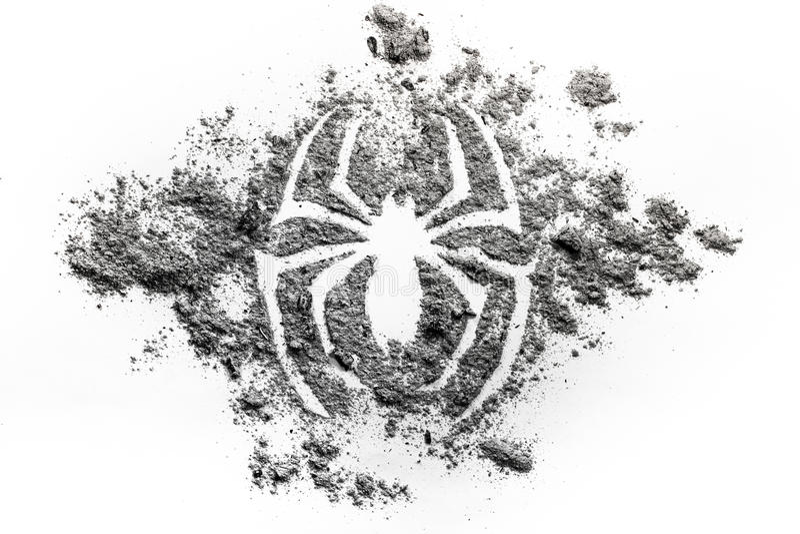 蜘蛛剪影在灰做的标志图画,土,作为s su的尘土 免版税库存图片