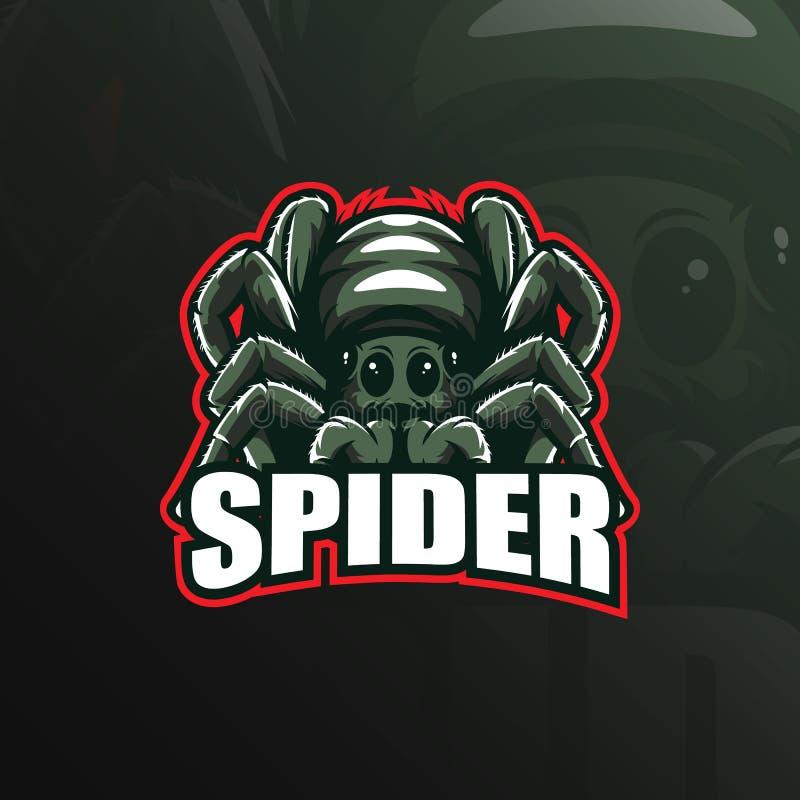 蜘蛛吉祥人商标与现代例证概念样式的设计传染媒介徽章、象征和T恤杉打印的 蜘蛛 皇族释放例证