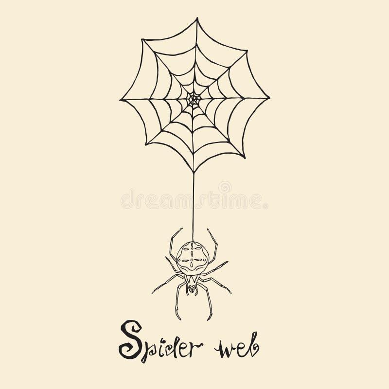 蜘蛛和网与题字,木刻样式设计,手拉的乱画,剪影在流行艺术样式 向量例证