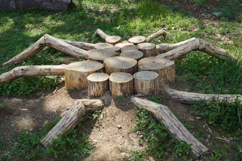 蜘蛛塑造了图作为装饰使用的由木头制成在Gwankyo湖公园在韩国 库存图片