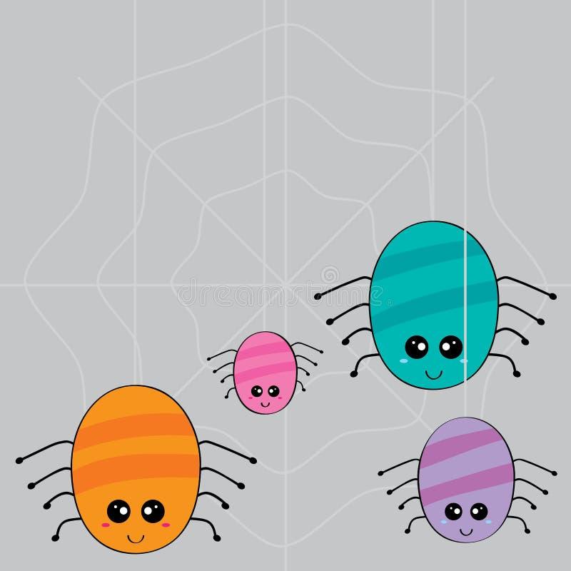 蜘蛛家庭编织的网 向量例证