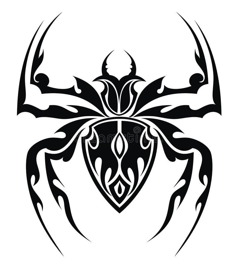 蜘蛛纹身花刺 库存例证