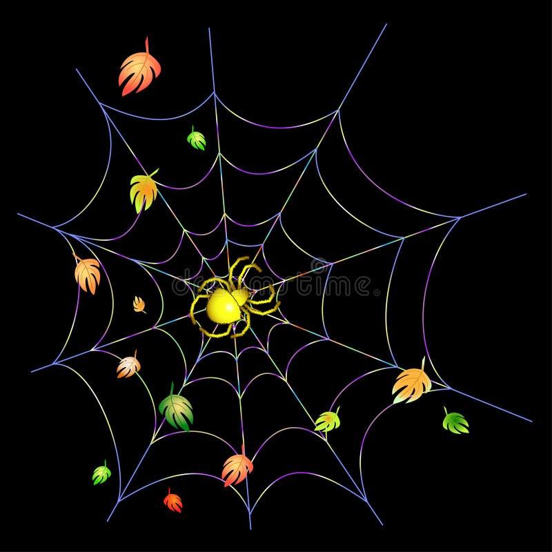 蜘蛛网黄色 库存例证