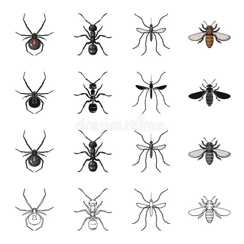 蜘蛛,昆虫蚂蚁,蚊子,蜂 在动画片黑色单色概述样式的昆虫集合汇集象导航标志 皇族释放例证