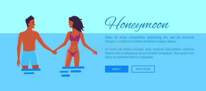 蜜月与恋人的网横幅,传染媒介 向量例证