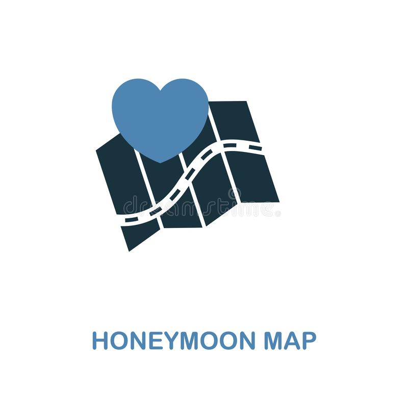 蜜月在两种颜色的设计的地图象 简单的元素例证 从蜜月汇集的蜜月地图创造性的象 为了我们 皇族释放例证