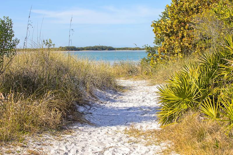蜜月海岛被隔离的海滩通入足迹 免版税库存图片
