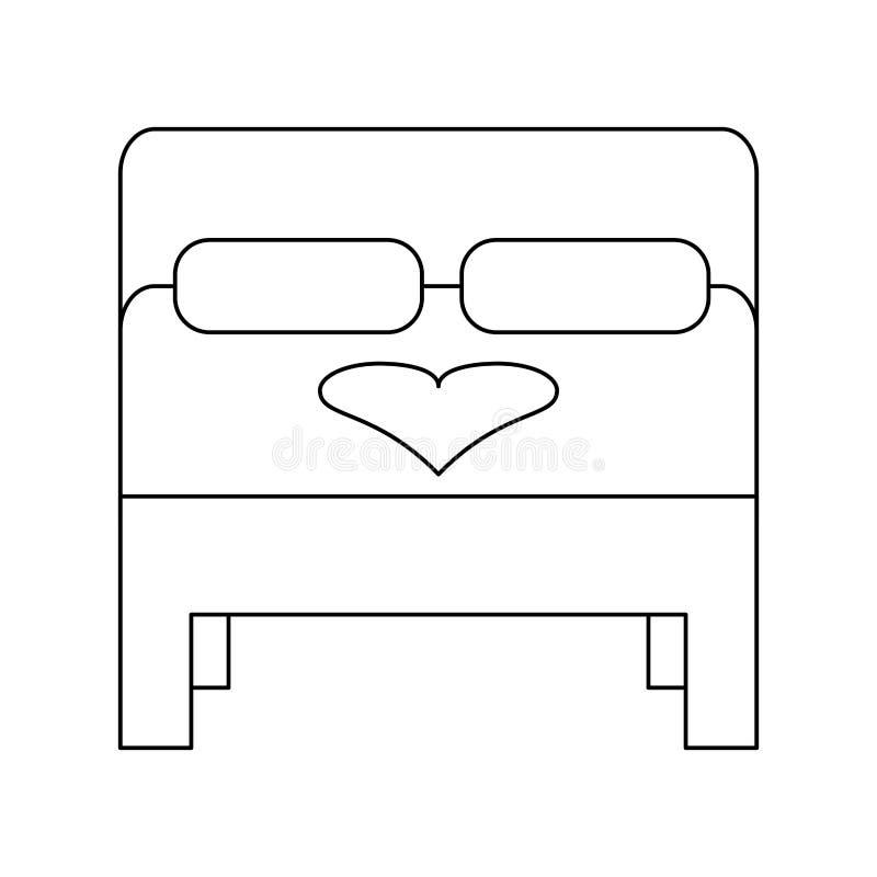 蜜月黑白床的标志 向量例证