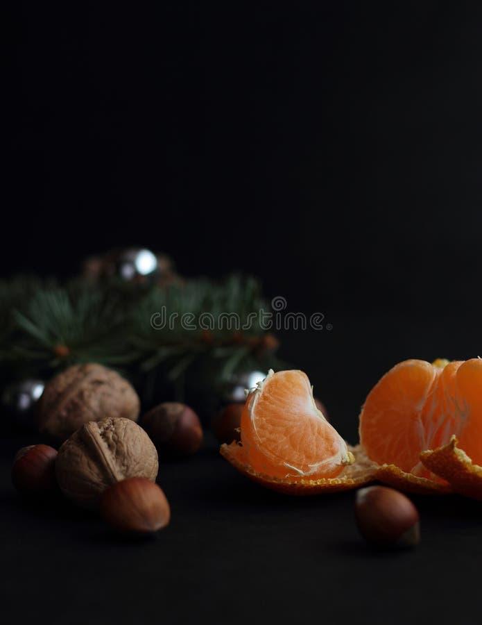 蜜桔和核桃 图库摄影