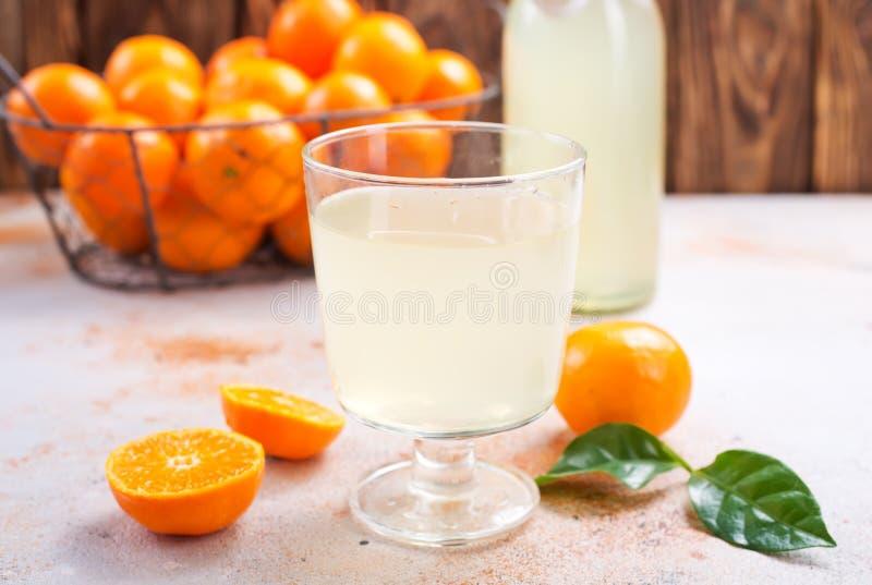 蜜桔和蜜桔汁 免版税库存照片