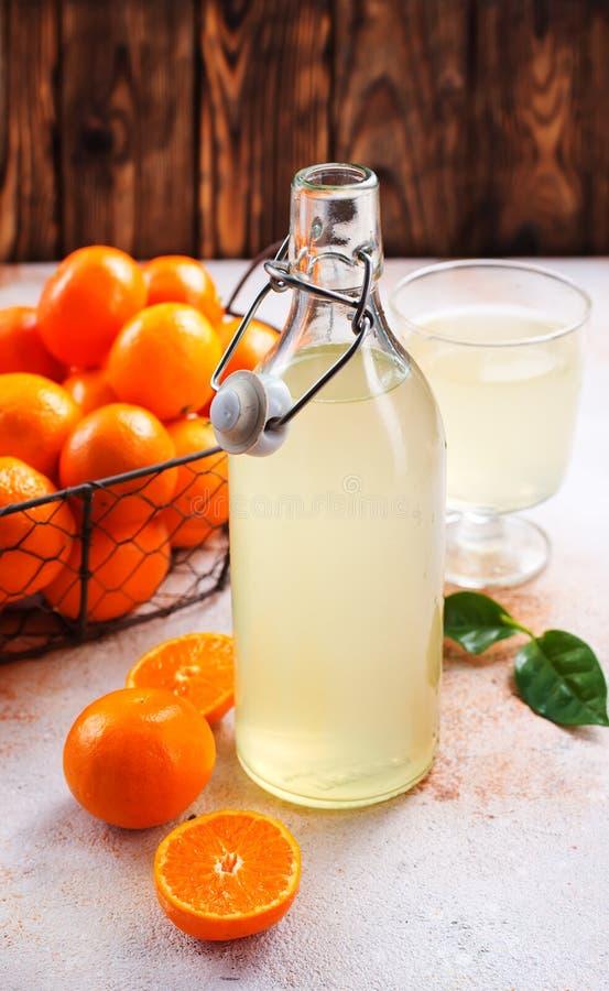 蜜桔和蜜桔汁 库存图片