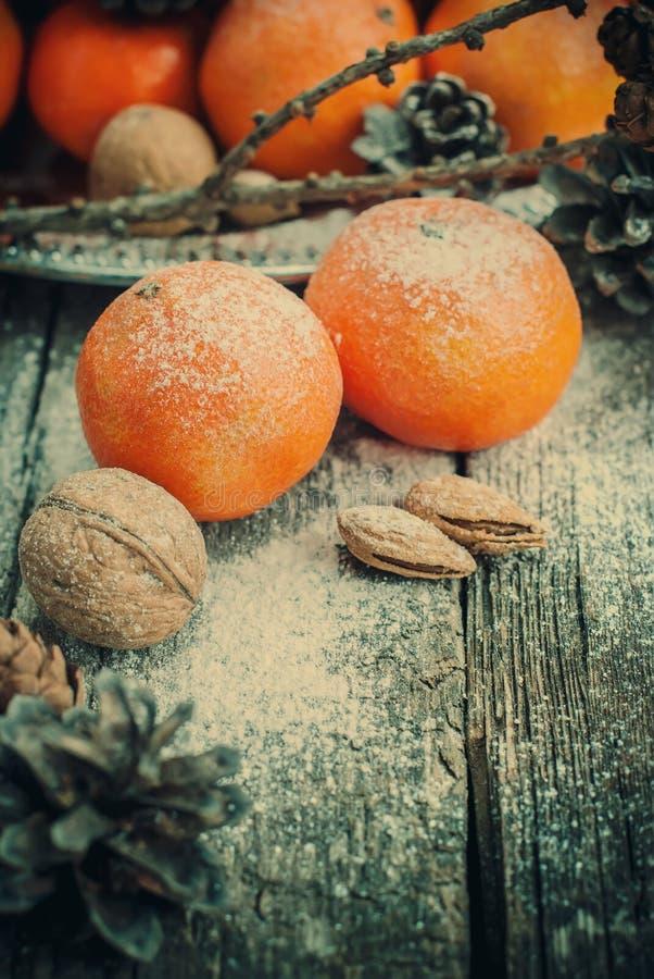 蜜桔,与雪的杉木锥体在假日装饰,被定调子 免版税库存图片