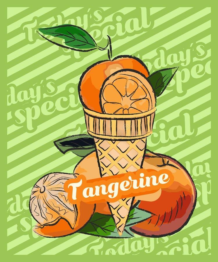 蜜桔,普通话,在锥体的冰淇淋瓢 r 果子冰淇淋想法,概念 皇族释放例证
