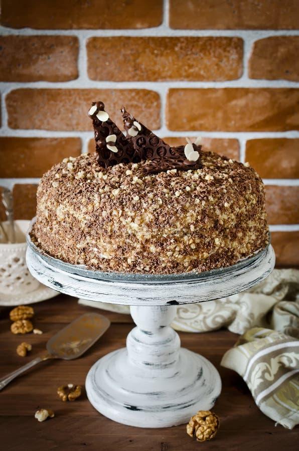 蜜糕用核桃和被磨碎的巧克力 免版税库存照片