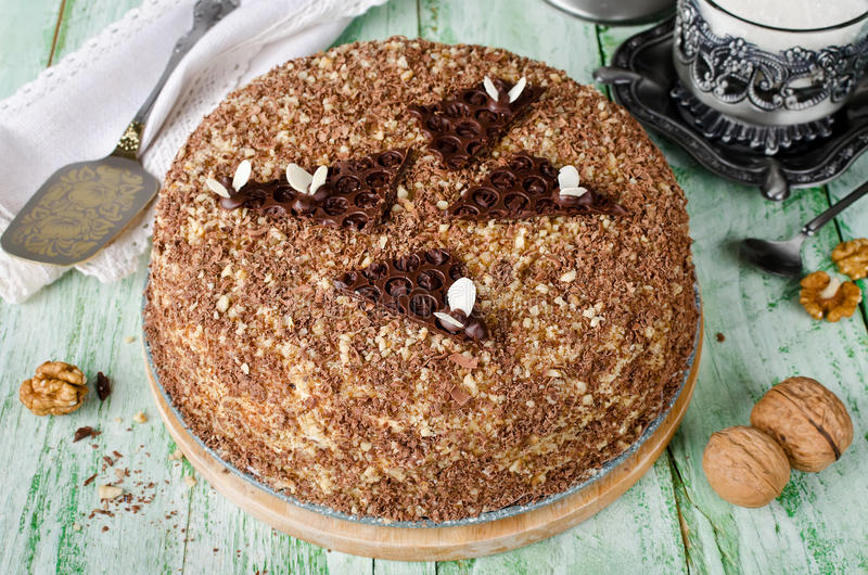 蜜糕用核桃和被磨碎的巧克力 图库摄影